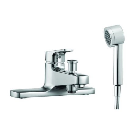 321952 - Laufen City Pro Deck Mounted Bath Mixer Tap with Handshower - 3.2195.2
